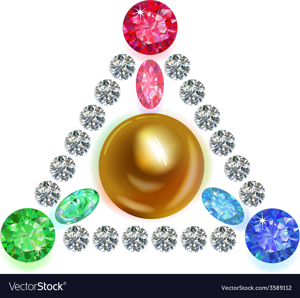 Equilateral triangle composition colored gems set vector | Price: 1 Credit (USD $1)