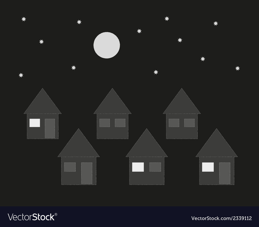 Family houses in the night vector | Price: 1 Credit (USD $1)