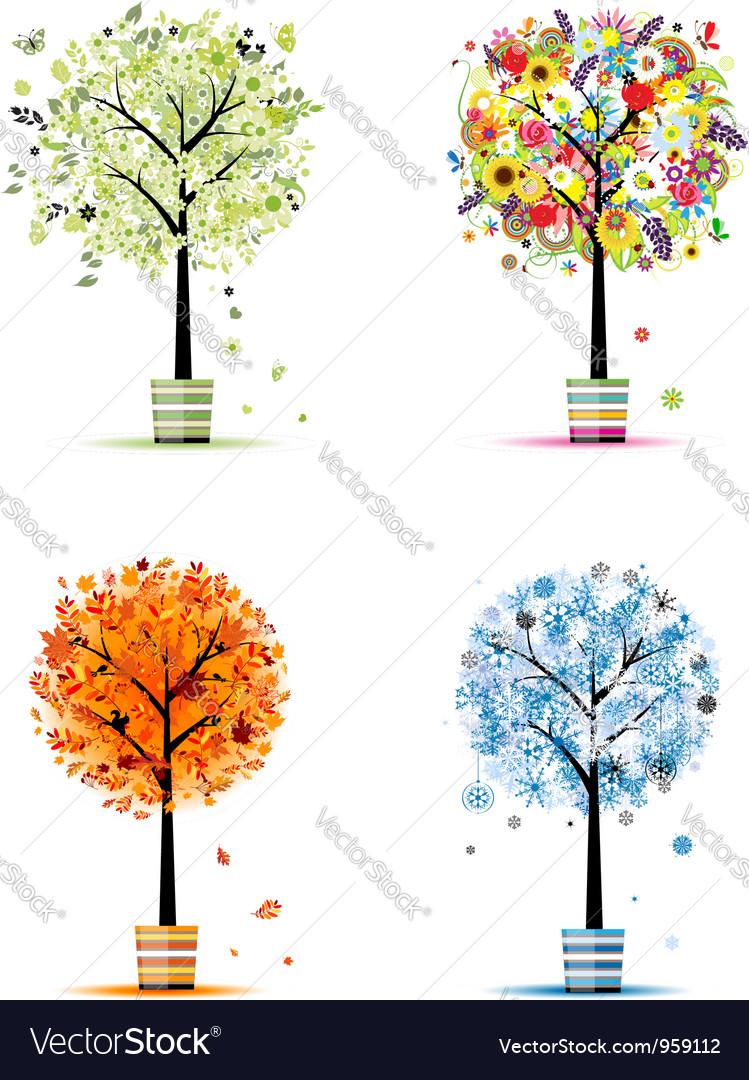 Four seasons - spring summer autumn winter vector | Price: 1 Credit (USD $1)