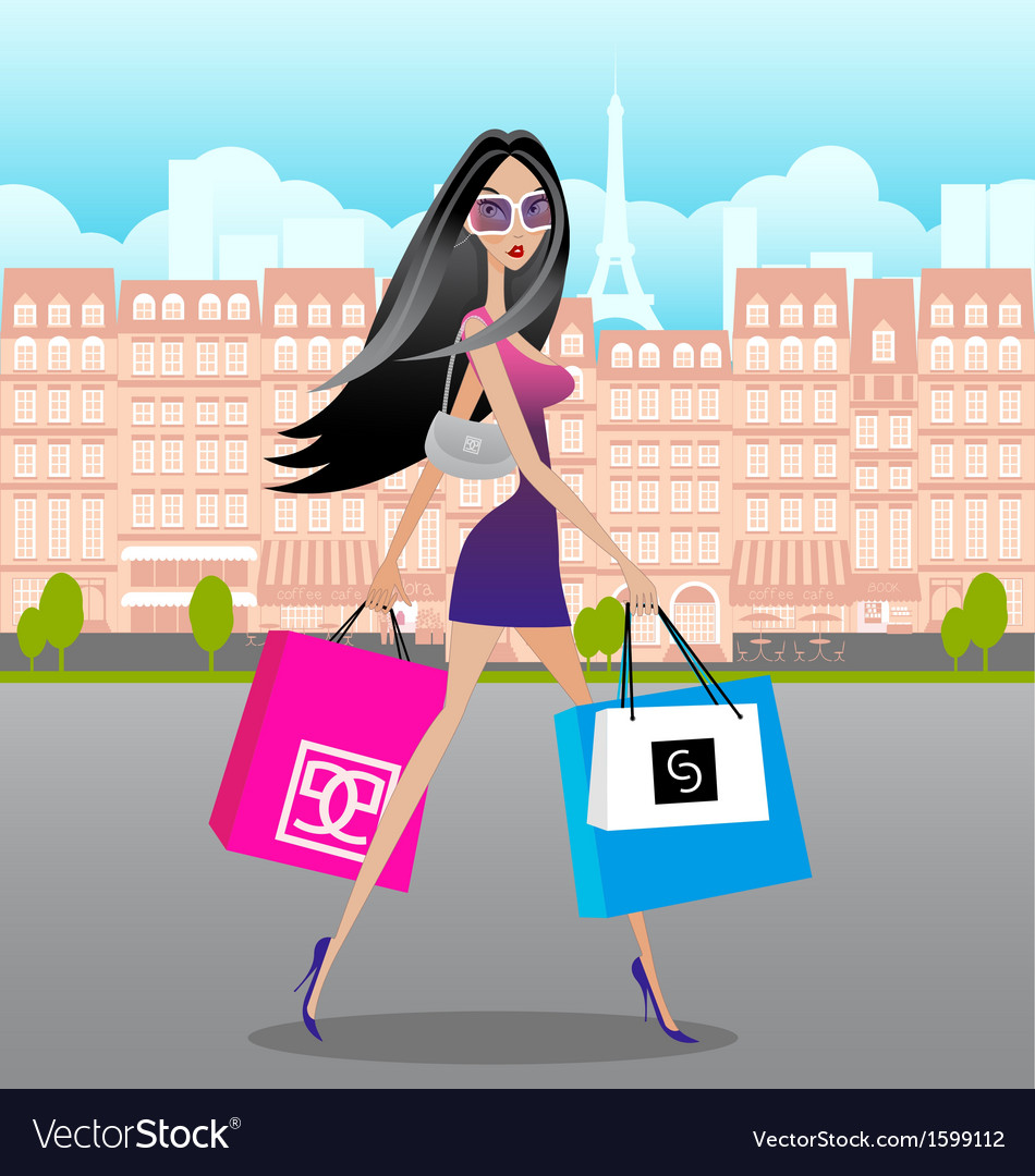 Lady-shopping-in-paris vector | Price: 1 Credit (USD $1)