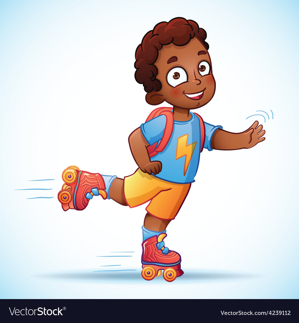 Little african american boy riding on roller vector | Price: 1 Credit (USD $1)