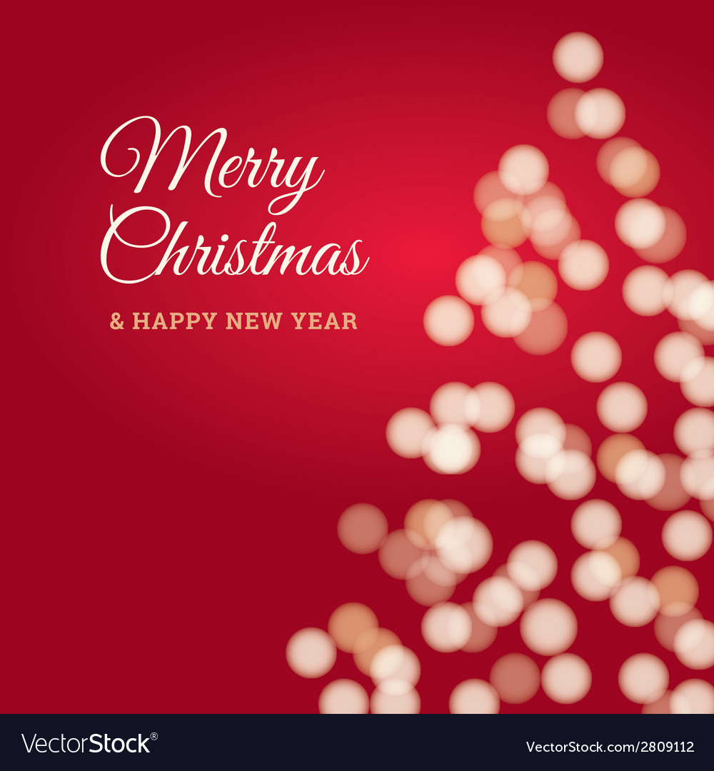 Merry christmas tree card red vector | Price: 1 Credit (USD $1)
