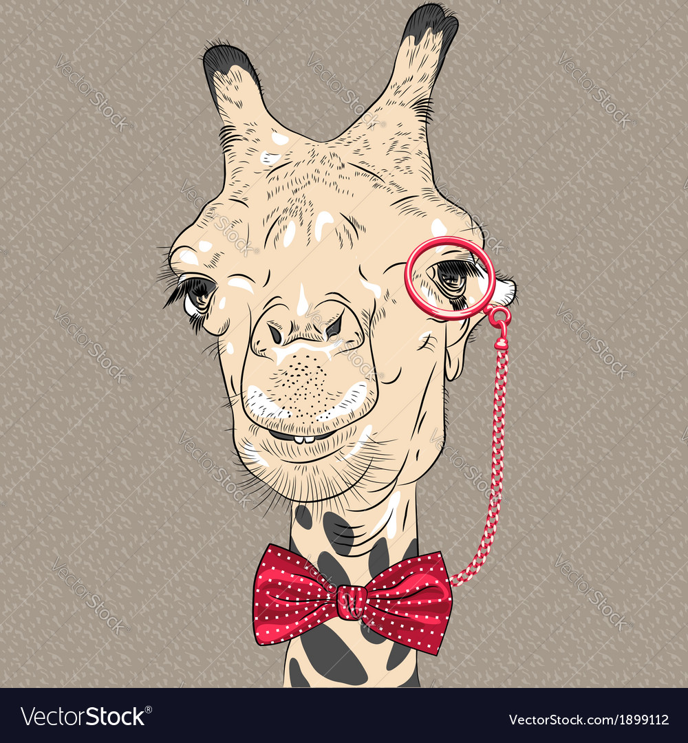 Sketch closeup portrait of funny giraffe hipster vector | Price: 1 Credit (USD $1)