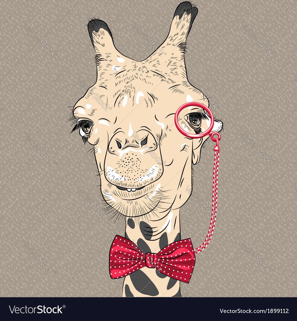 Sketch closeup portrait of funny giraffe hipster vector | Price: 1 Credit (USD $1)
