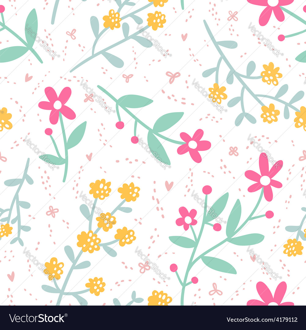 Spring mood repeat floral pattern vector | Price: 1 Credit (USD $1)