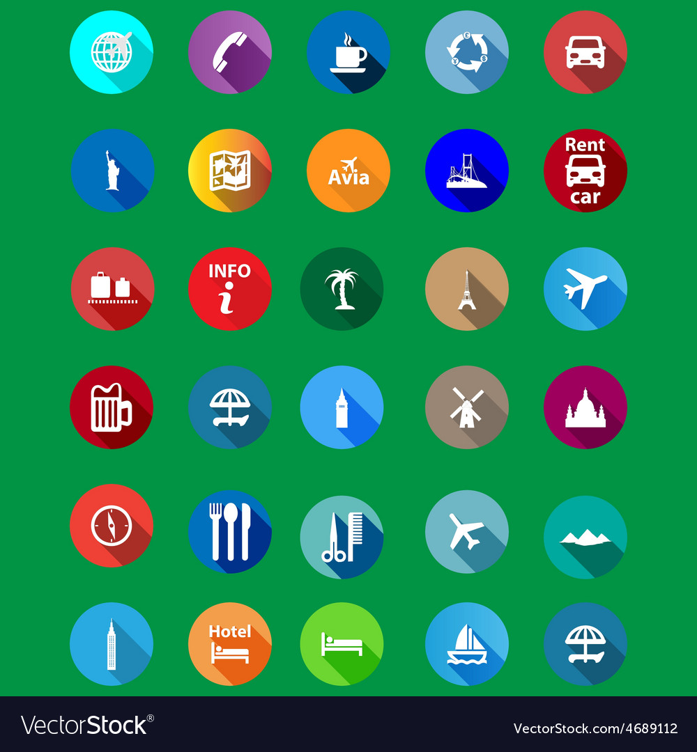 Travel icons set in a flat style vector | Price: 1 Credit (USD $1)