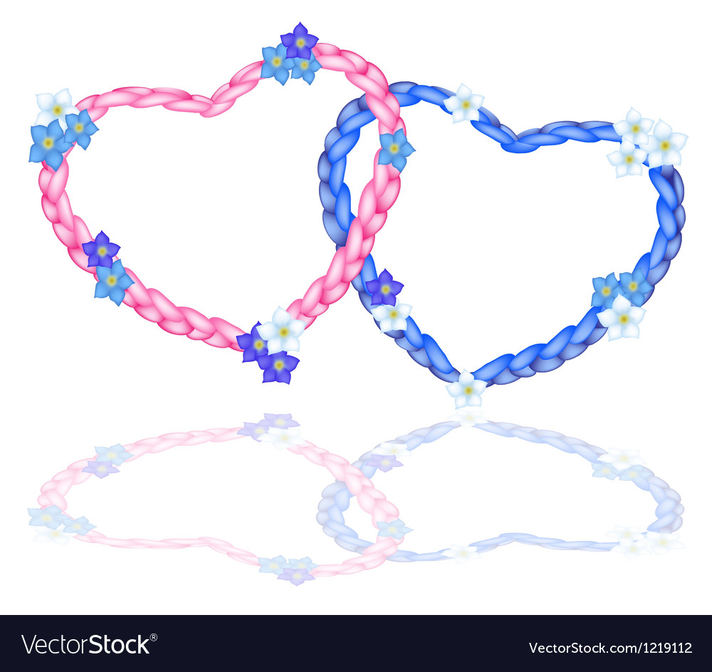 Two rope heart with forget me not flower vector | Price: 1 Credit (USD $1)