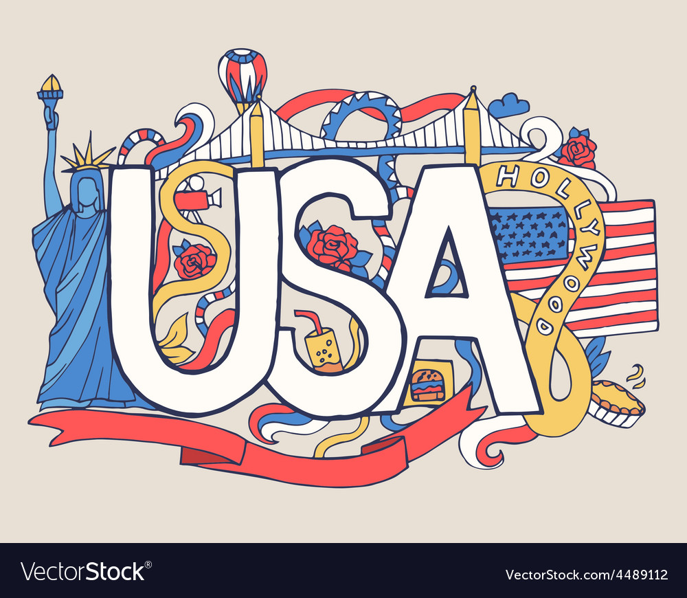 Usa art abstract hand lettering and doodles vector | Price: 1 Credit (USD $1)