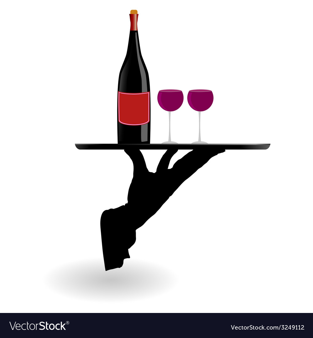 Waiter carrying wine glasses on the tray vector | Price: 1 Credit (USD $1)