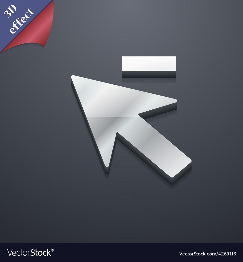 Cursor arrow minus icon symbol 3d style trendy vector | Price: 1 Credit (USD $1)