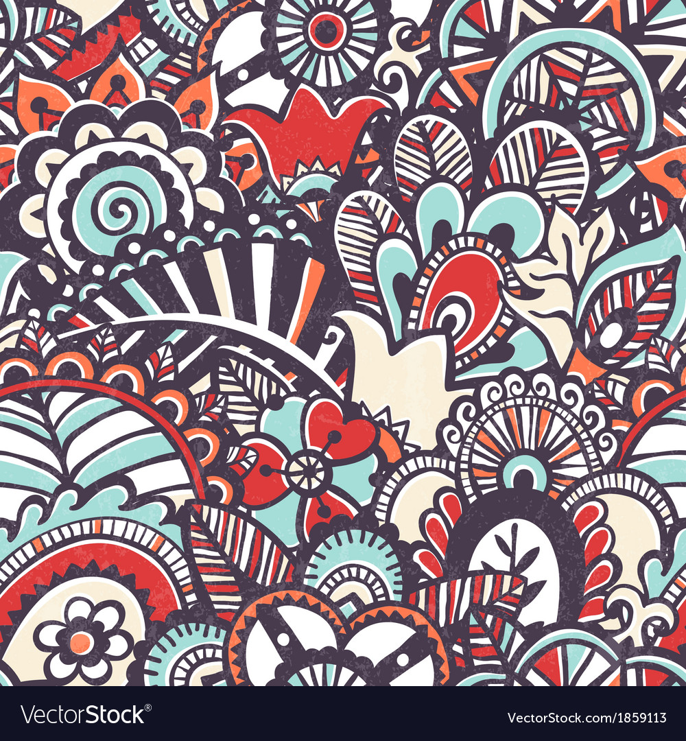 Doodle seamless print floral background vector | Price: 1 Credit (USD $1)