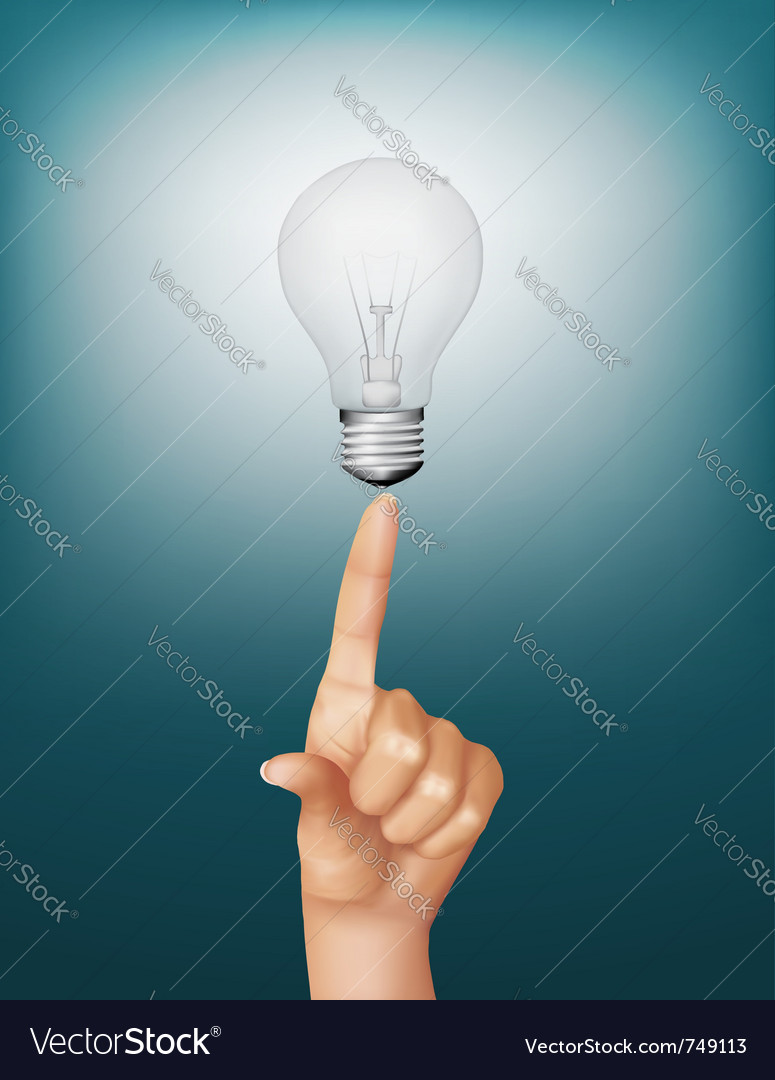 Finger touching light bulb vector | Price: 3 Credit (USD $3)