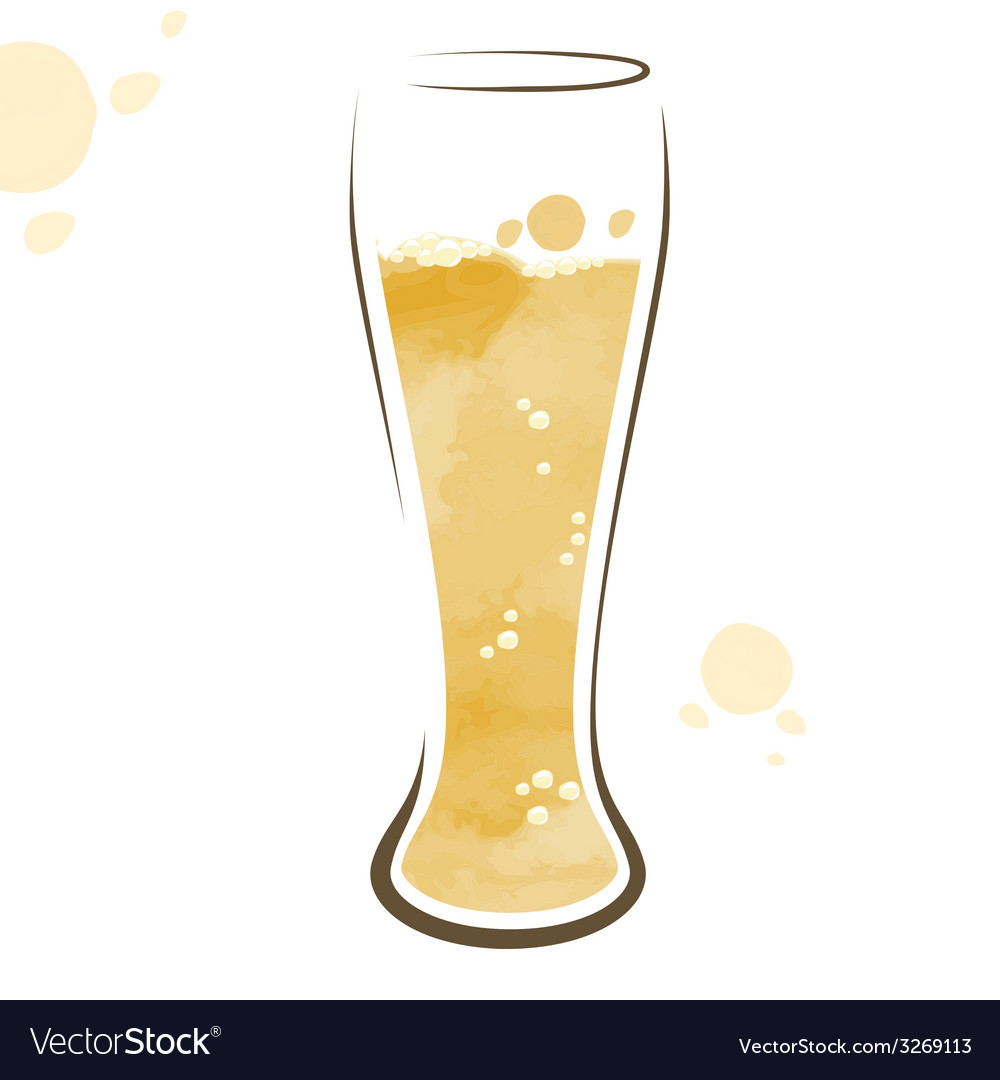 Glass of beer watercolor drawing vector | Price: 1 Credit (USD $1)
