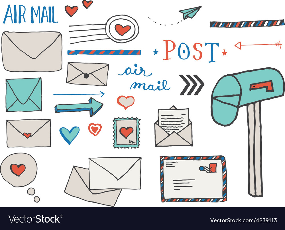 Mail and postage doodle clip art vector | Price: 1 Credit (USD $1)