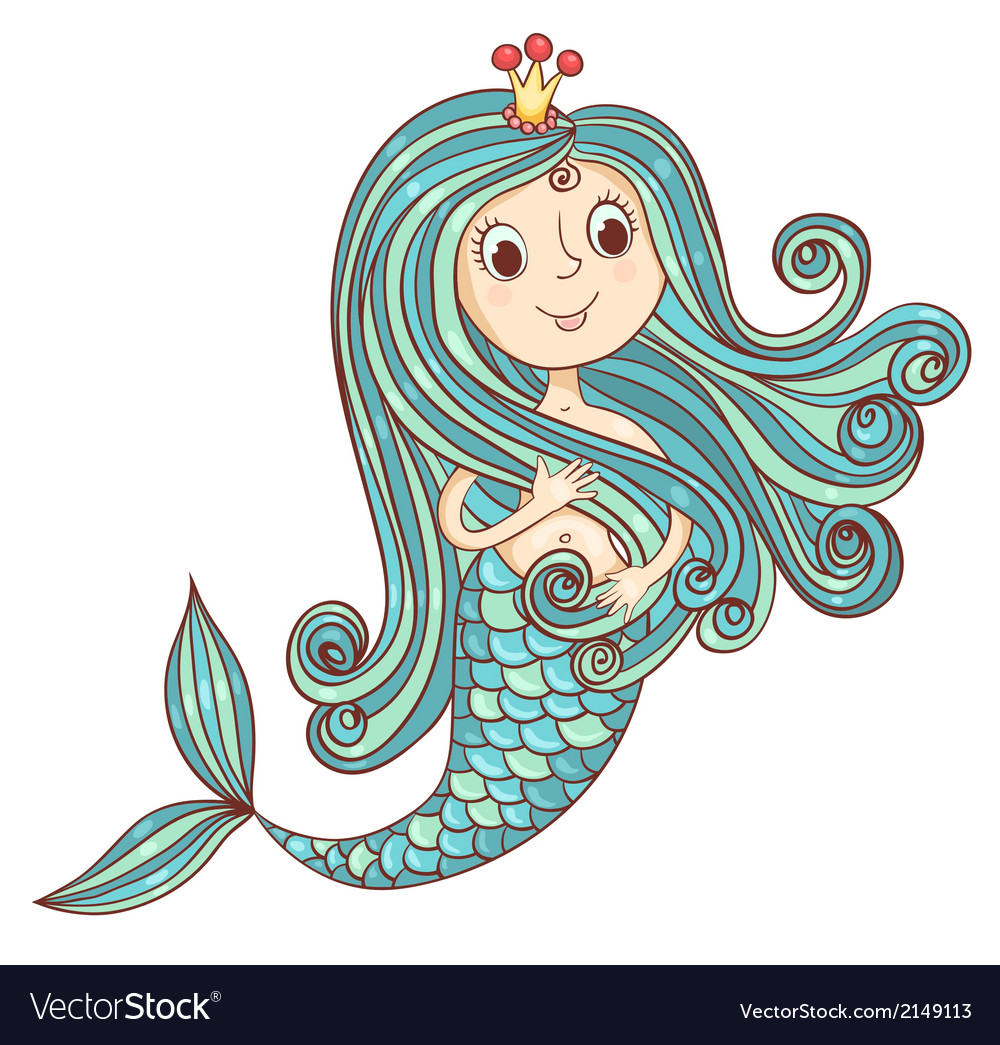 Mermaid princess isolated on white vector | Price: 1 Credit (USD $1)