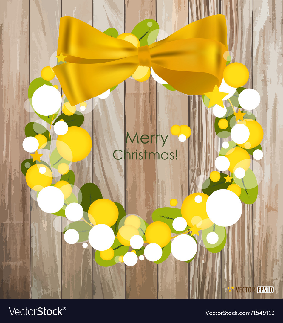 Merry christmas greeting card on wood background vector | Price: 1 Credit (USD $1)
