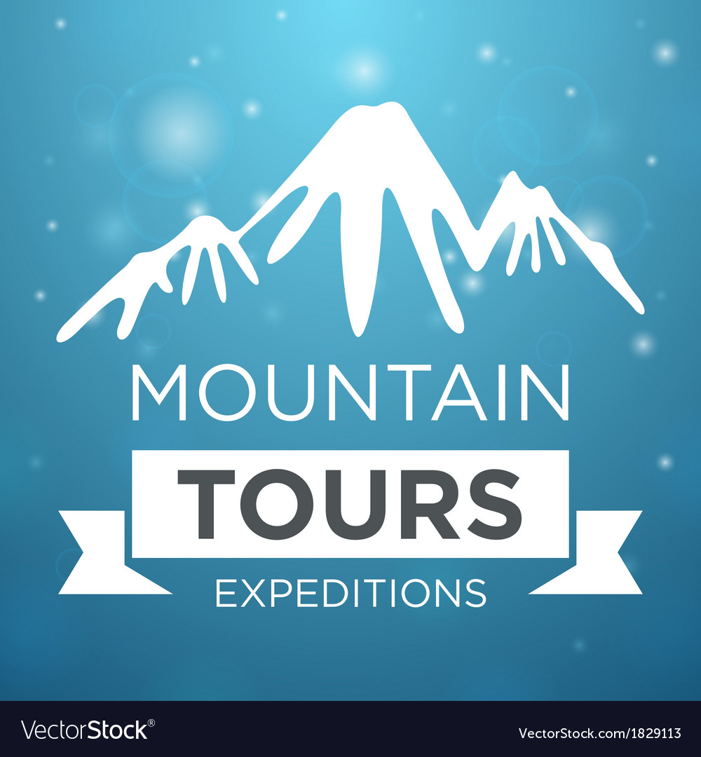 Mountain tours expedition on blue background vector | Price: 1 Credit (USD $1)
