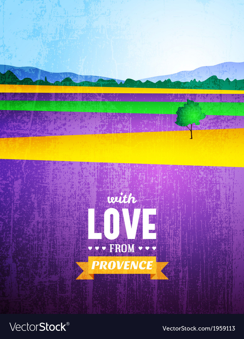 Poster with a landscape of provence vector | Price: 1 Credit (USD $1)