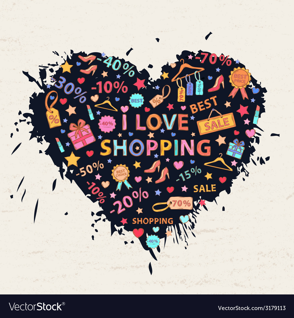 Shopping heart with colorful blots vector | Price: 1 Credit (USD $1)