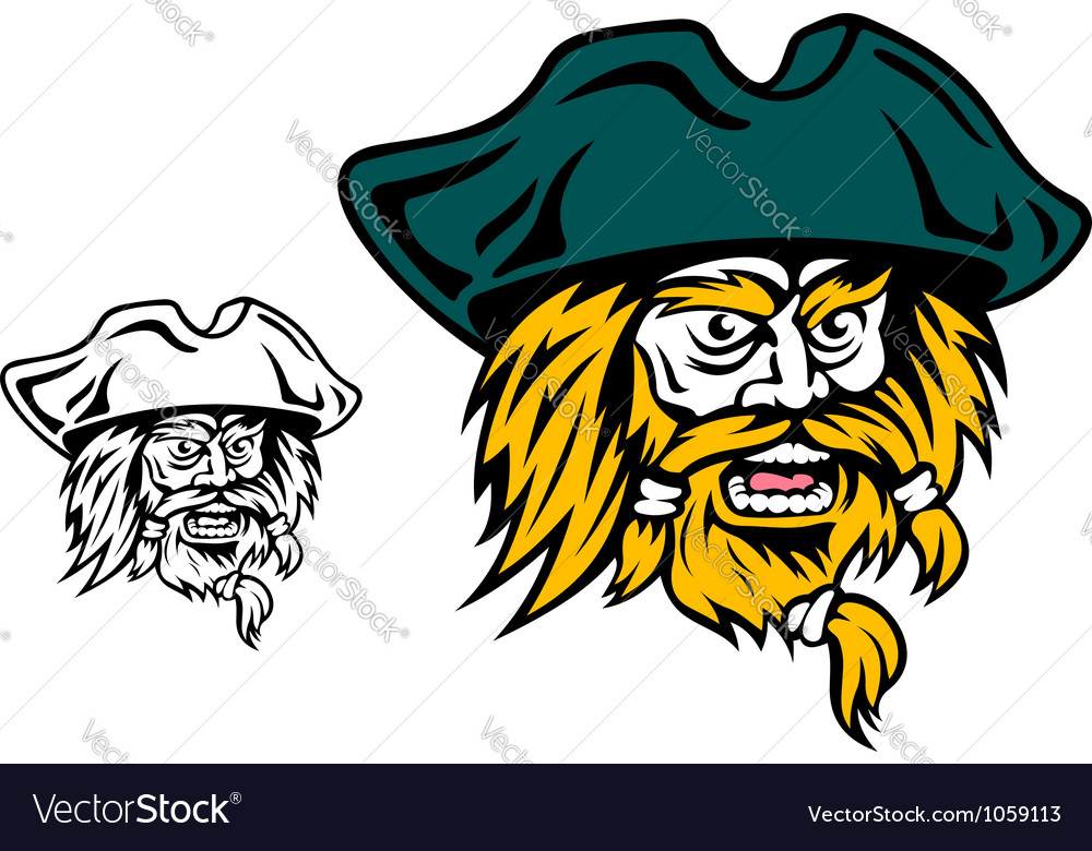 Shouting pirate captain head vector | Price: 1 Credit (USD $1)