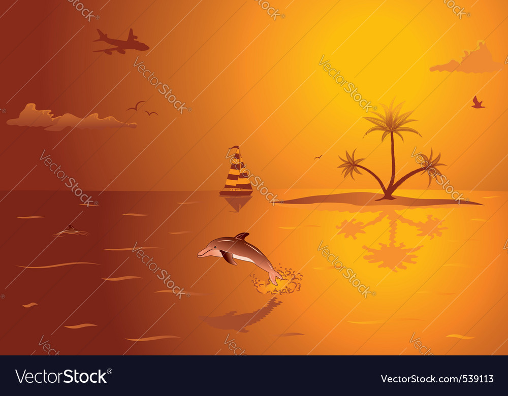 Summer background with island palm tree dolphin an vector | Price: 1 Credit (USD $1)
