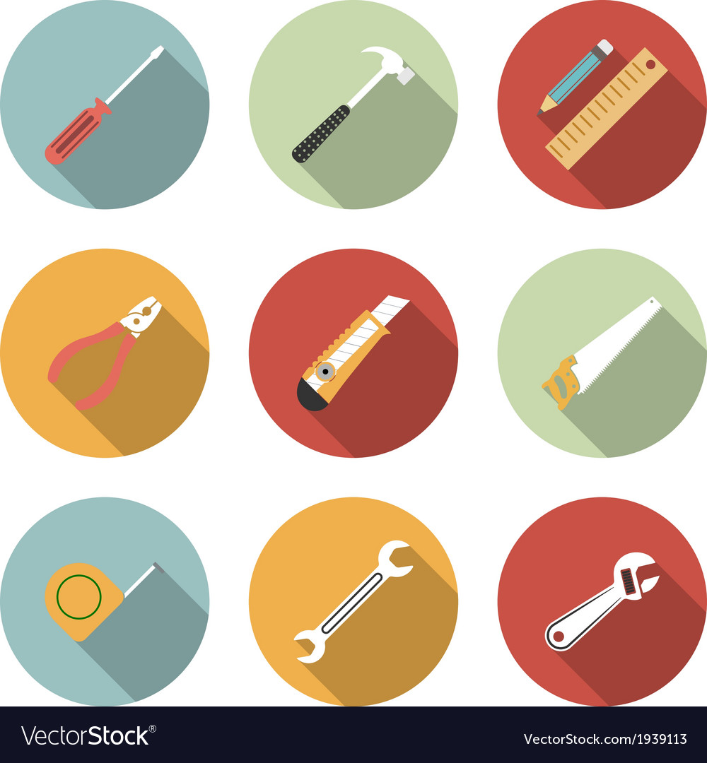 Tools flat icons set vector | Price: 1 Credit (USD $1)