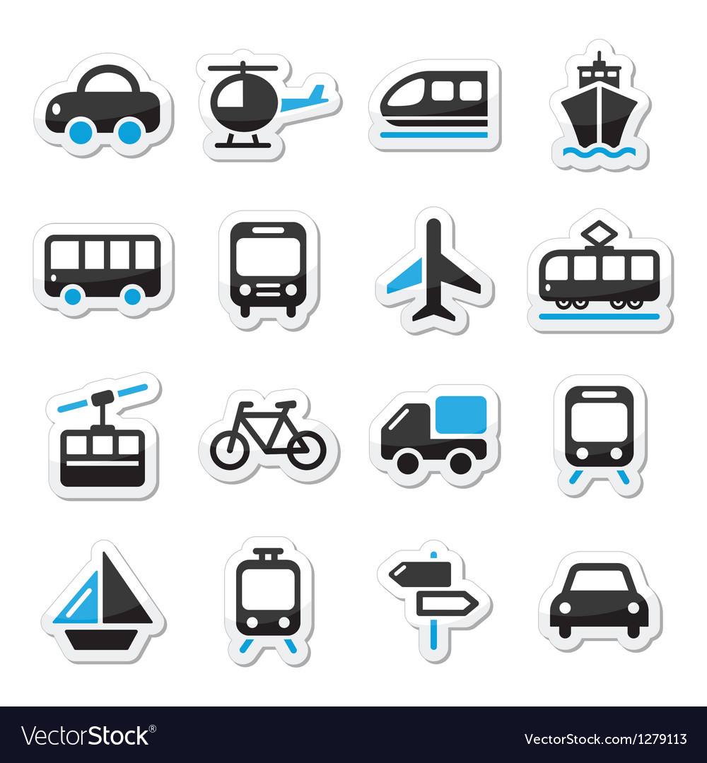 Transport travel icons set isoalated vector