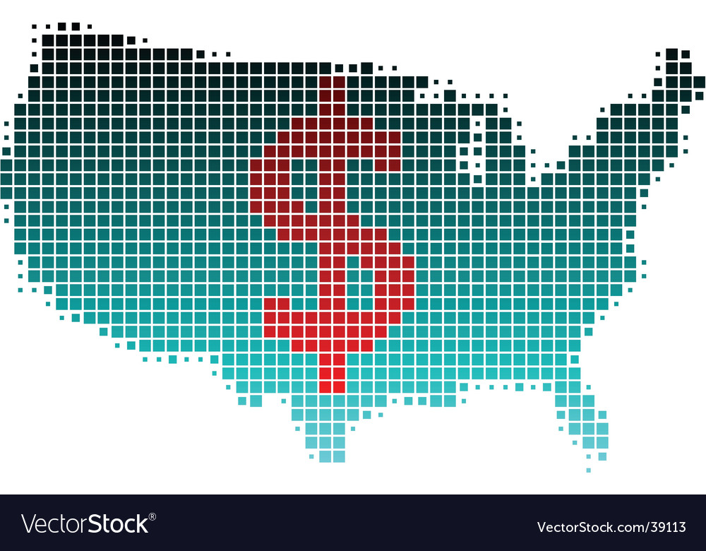 Usa map and dollar sign vector | Price: 1 Credit (USD $1)