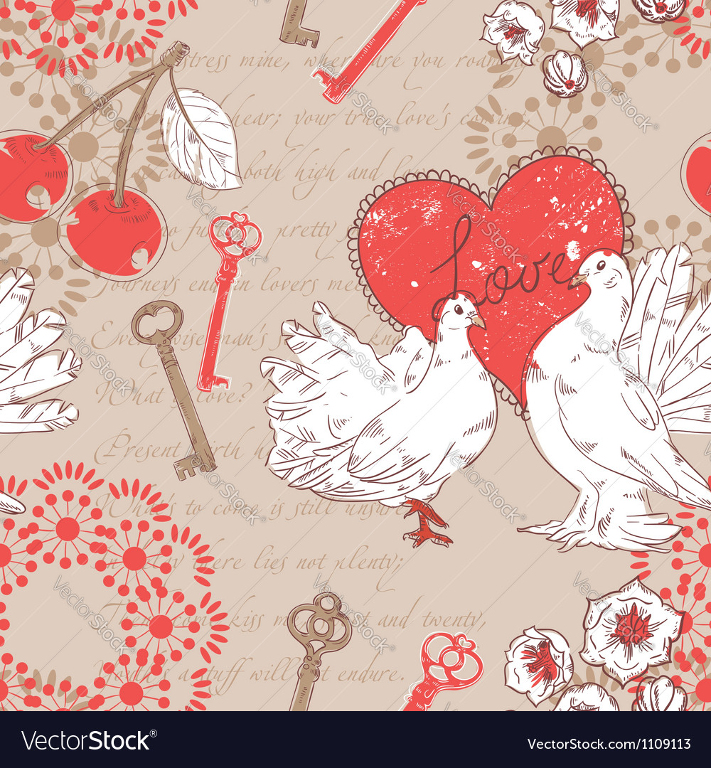Valentine retro seamless pattern with hearts vector | Price: 1 Credit (USD $1)