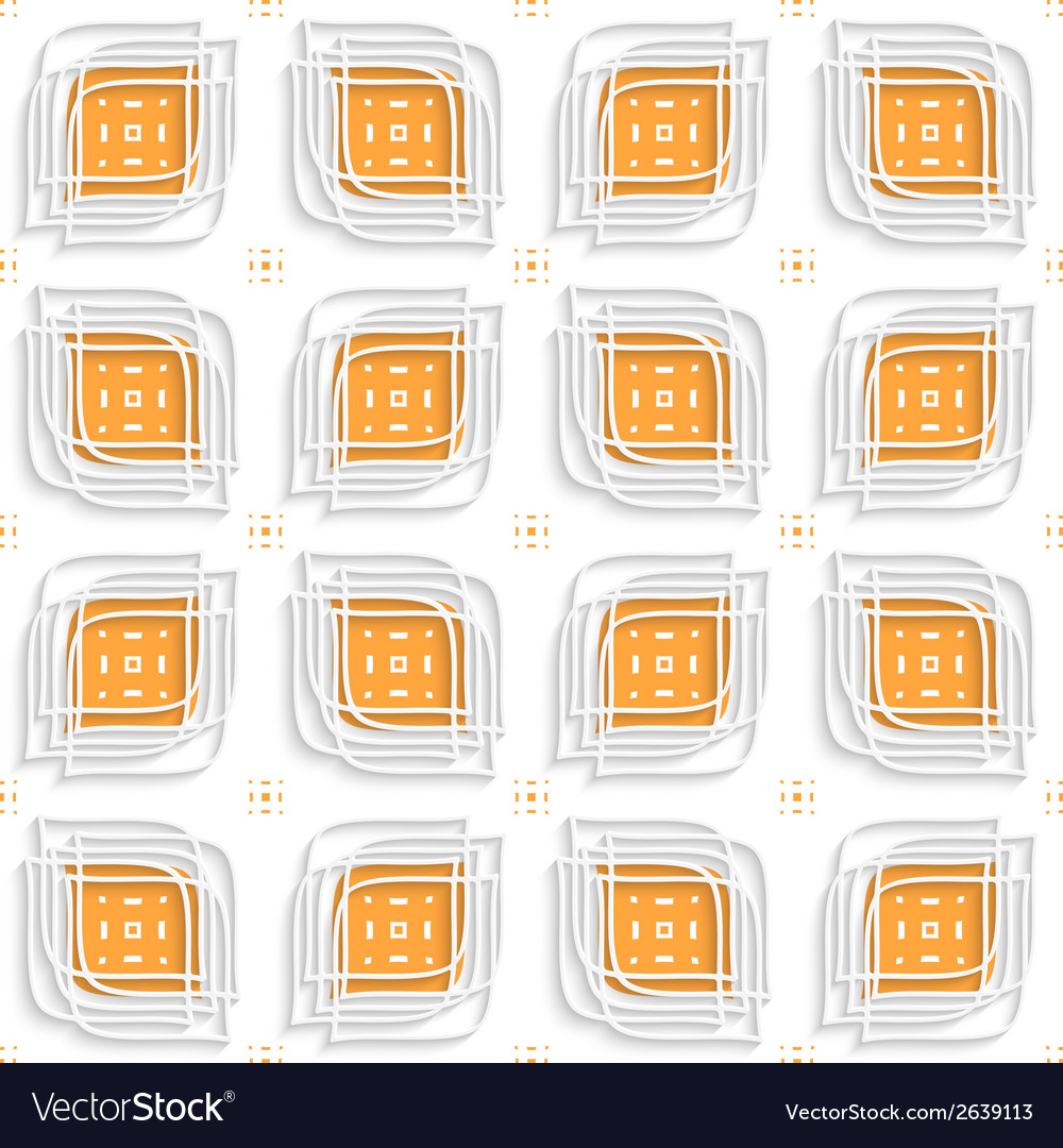 White linear leaves layered on orange seamless vector | Price: 1 Credit (USD $1)