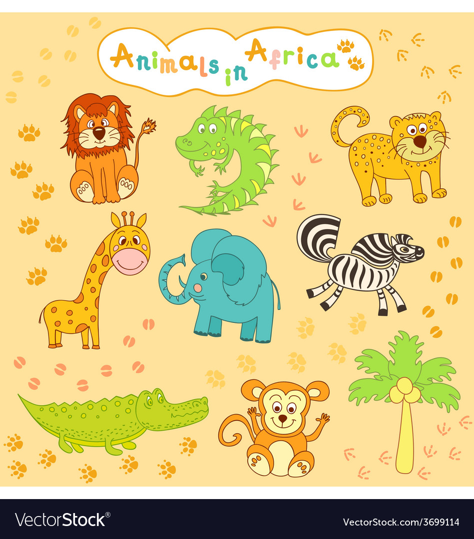 Children is colorful collection of african animals vector | Price: 1 Credit (USD $1)