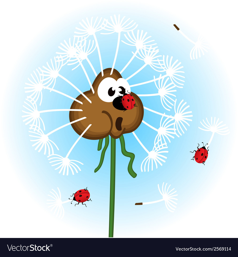 Dandelion and ladybug vector | Price: 1 Credit (USD $1)