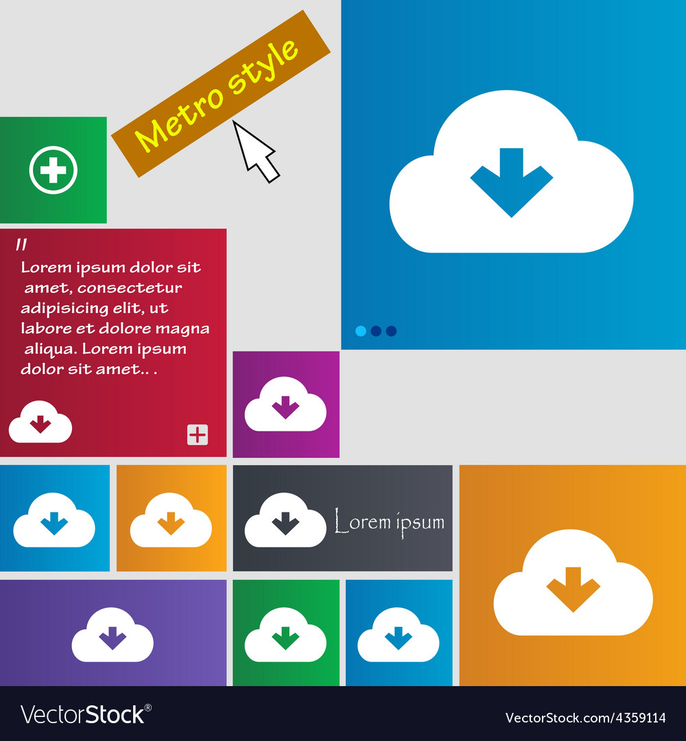 Download from cloud icon sign metro style buttons vector | Price: 1 Credit (USD $1)