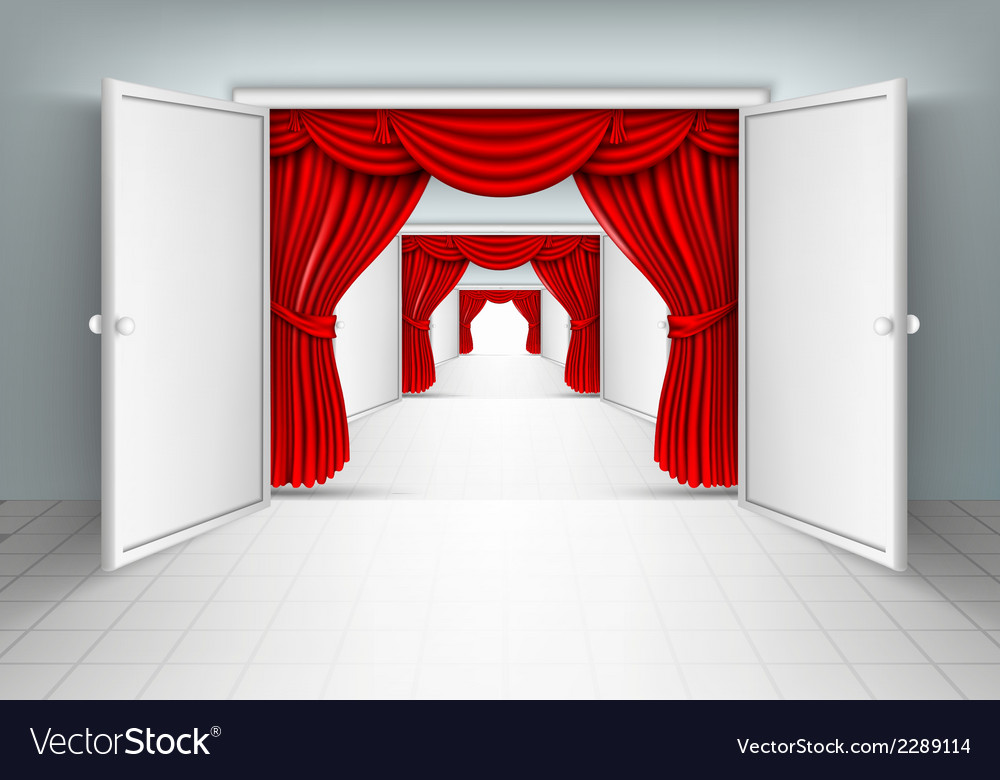 Entrance doors with red curtains vector | Price: 1 Credit (USD $1)