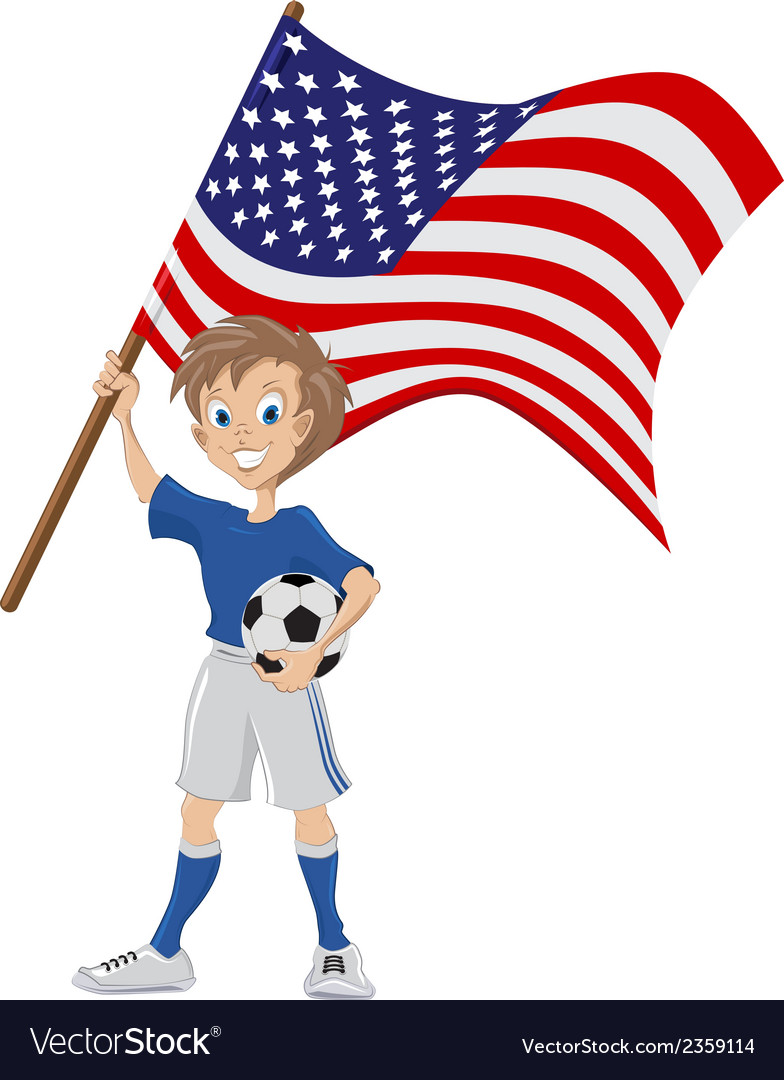 Happy soccer fan holds usa flag vector | Price: 1 Credit (USD $1)