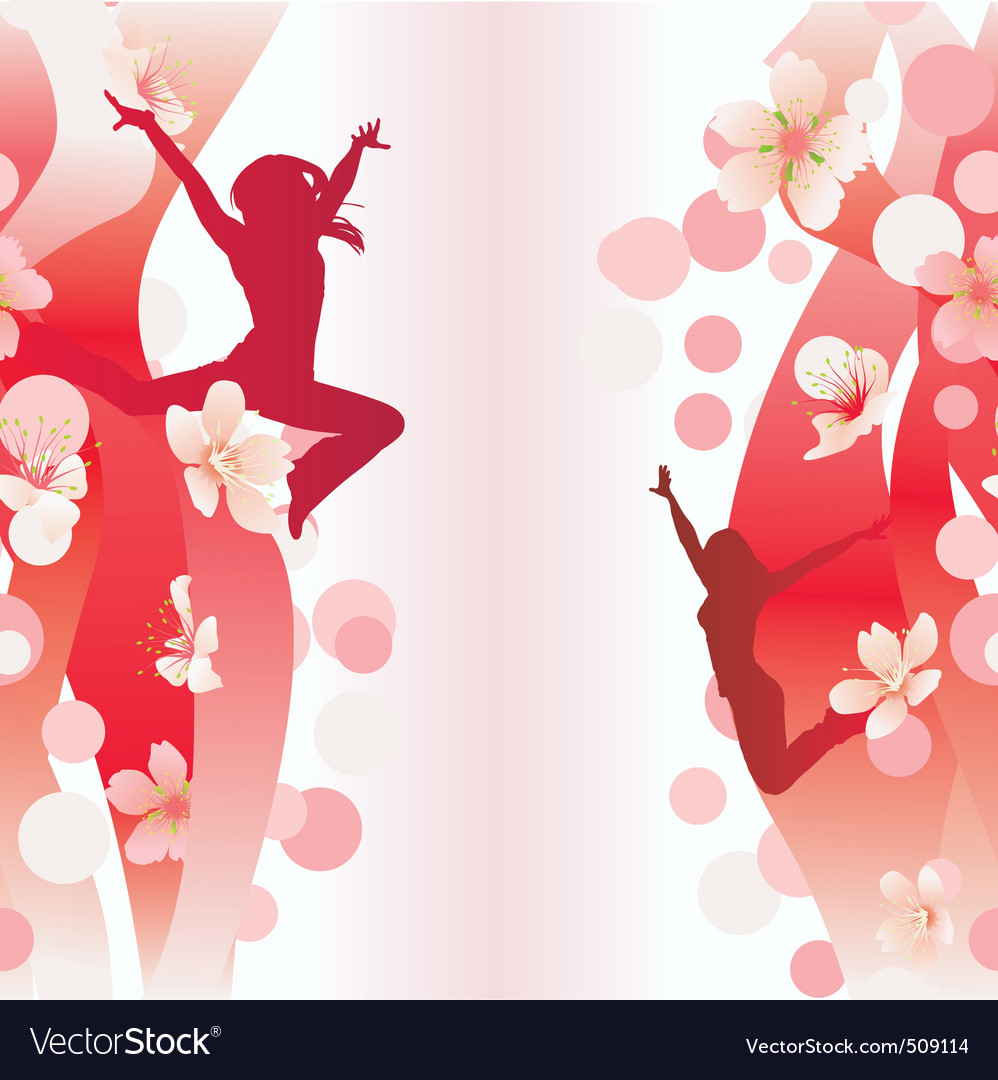 jumping women on red flowers backdrop vector | Price: 1 Credit (USD $1)