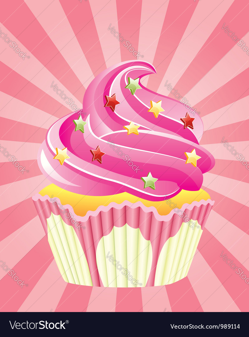 Pink cupcake vector | Price: 1 Credit (USD $1)