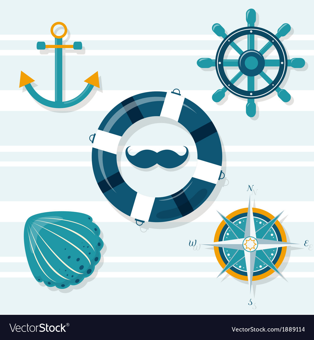 Set of five nautical vector | Price: 1 Credit (USD $1)