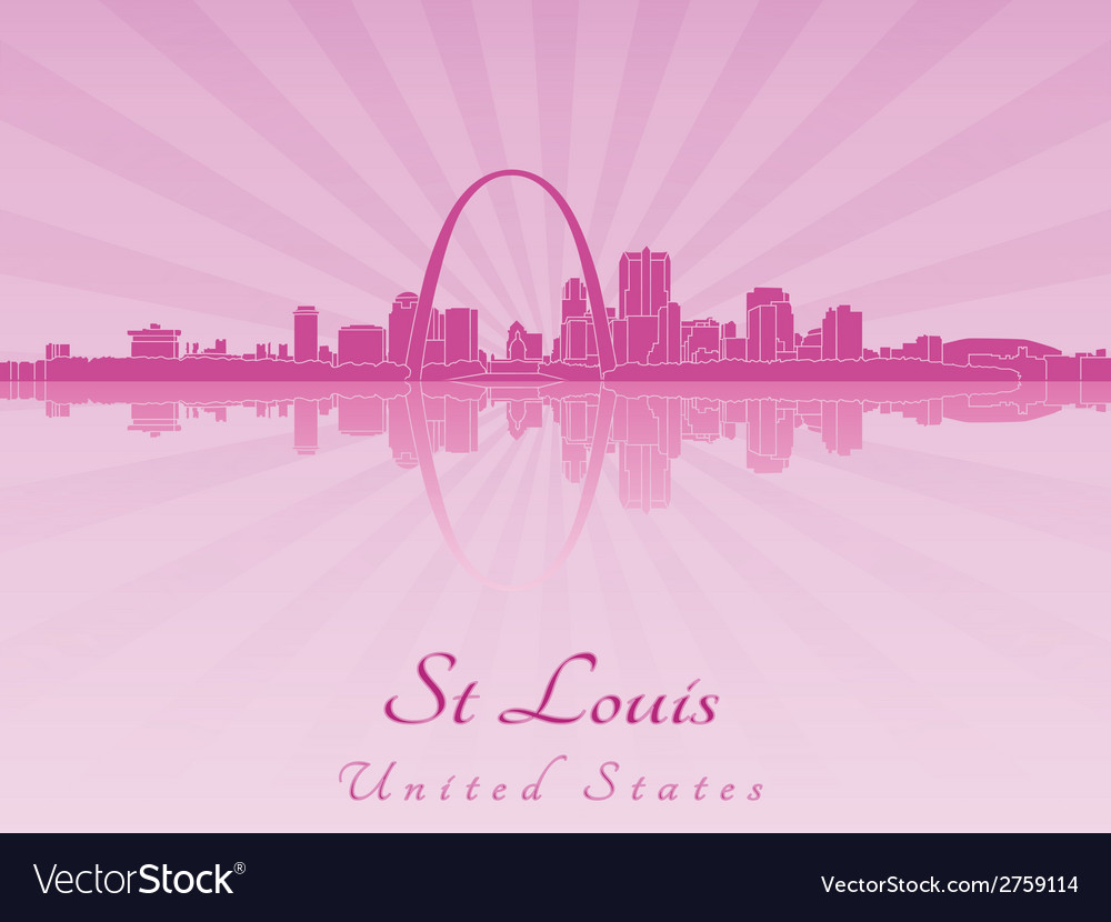 St louis skyline in radiant orchid vector | Price: 1 Credit (USD $1)