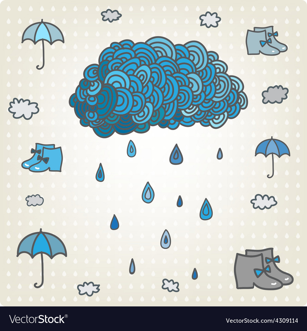 Stylizes drawn blue cloud with rain bad vector | Price: 1 Credit (USD $1)