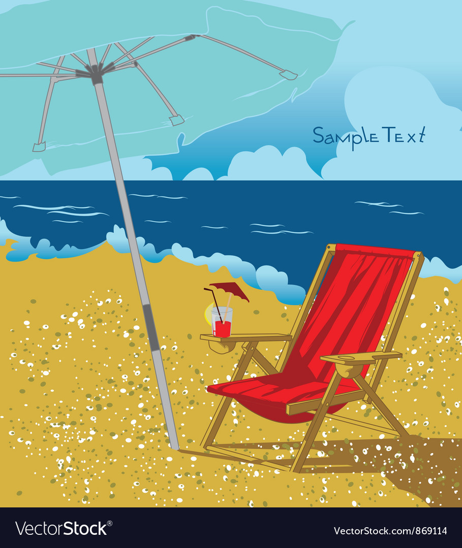 Summer background with long chair vector | Price: 1 Credit (USD $1)
