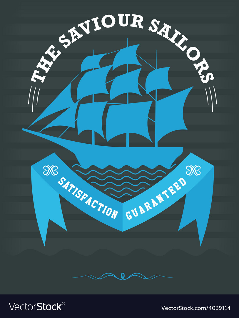 Vintage nautical emblem with sailing ship on dark vector | Price: 1 Credit (USD $1)