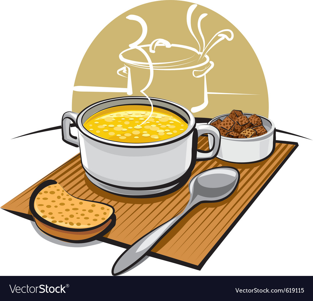 Chicken soup and croutons vector | Price: 3 Credit (USD $3)