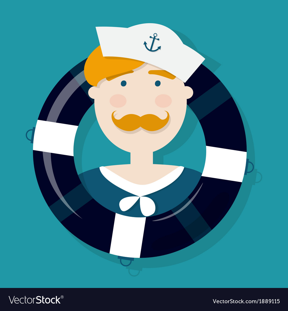 Cute ginger sailor cartoon character in a lifebuoy vector | Price: 1 Credit (USD $1)