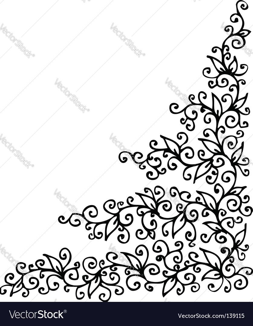 Floral vignette eau-forte vector | Price: 1 Credit (USD $1)