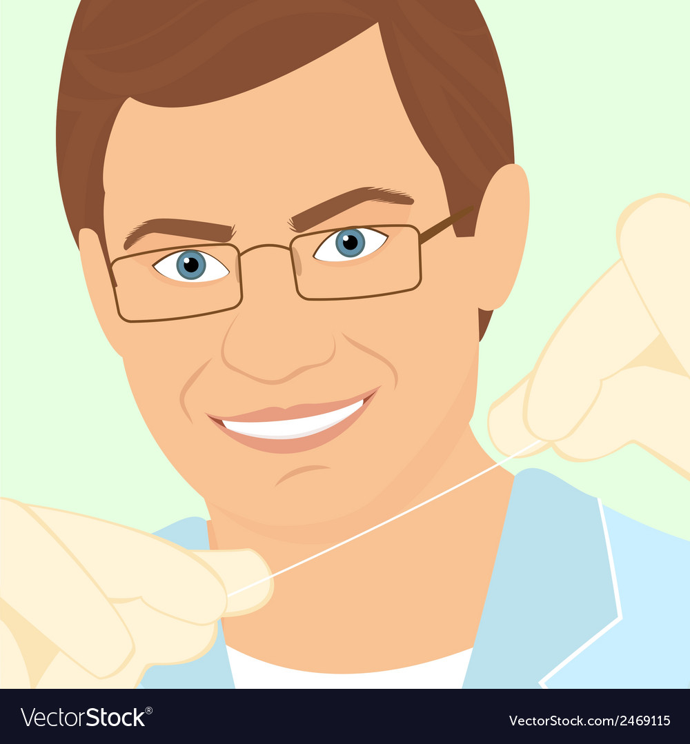 Friendly male dentist demonstrates floss vector | Price: 1 Credit (USD $1)