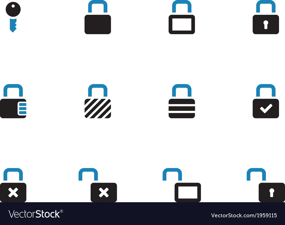 Locks duotone icons on white background vector | Price: 1 Credit (USD $1)