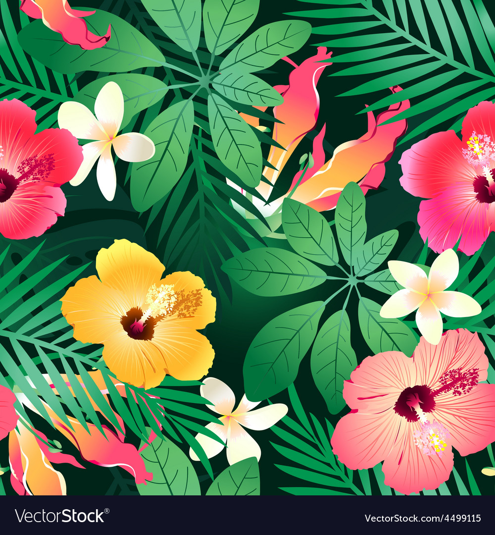 Lush tropical flowers vector | Price: 1 Credit (USD $1)