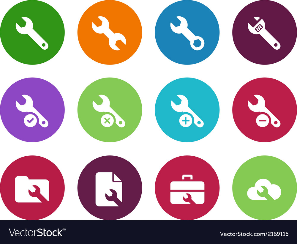 Repair wrench circle icons on white background vector | Price: 1 Credit (USD $1)