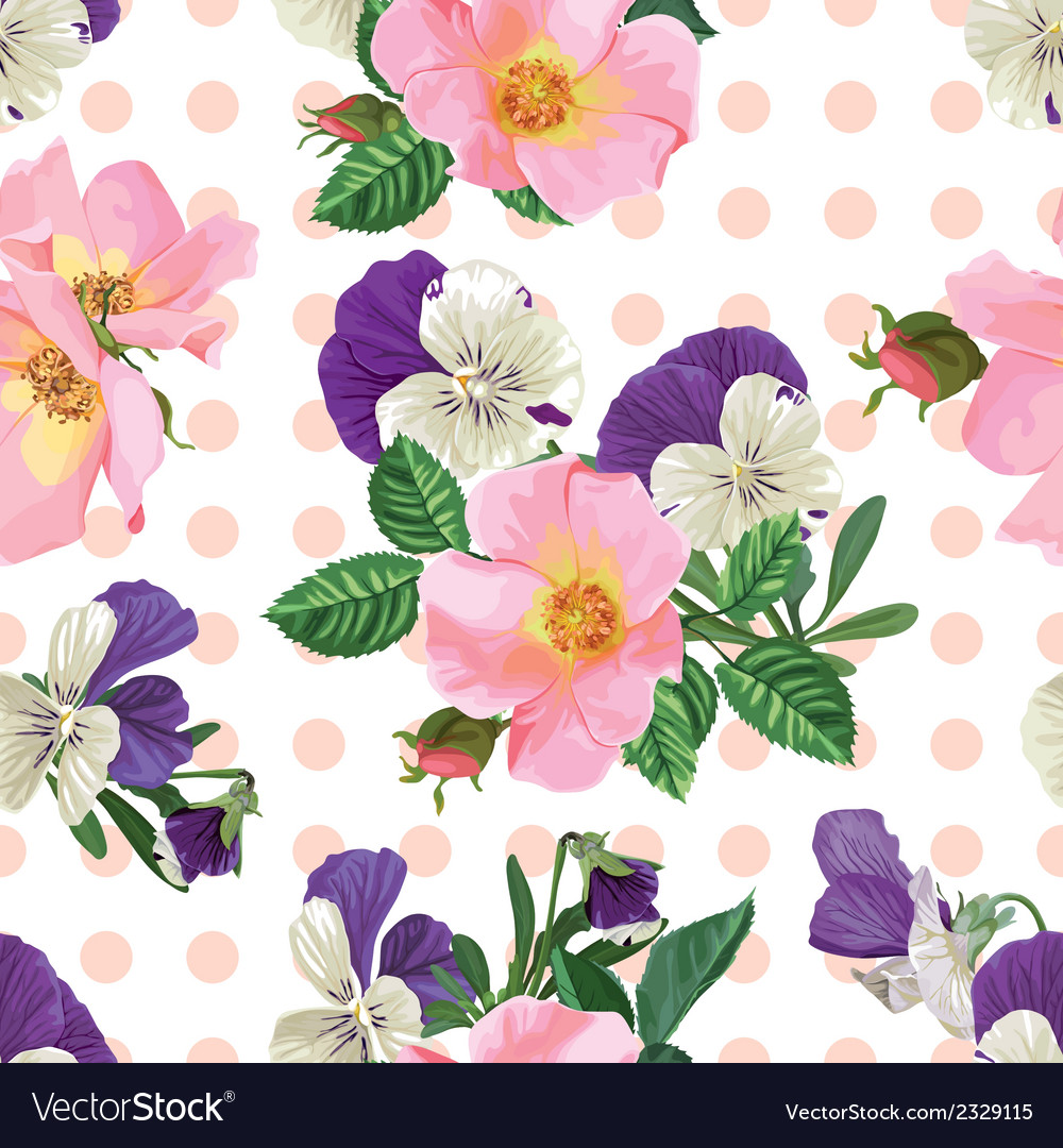 Seamless pattern bouquet of roses and forget me vector | Price: 1 Credit (USD $1)